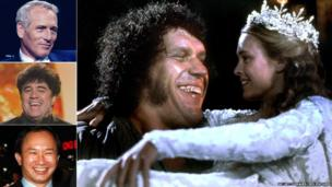 Clockwise from top left: Paul Newman; Andre the Giant and Robin Wright in The Princess Bride; John Woo; Pedro Almodovar