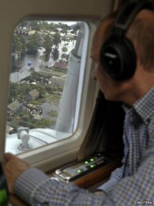 Vladimir Putin in his helicopter (30 August 2013)