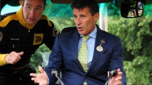 Lord Coe in a digger