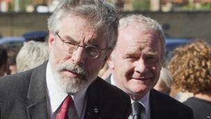 Sinn Féin President Gerry Adams anbd Northern Ireland Deputy First Minister Martin McGuinness attend the funeral of Seamus Heaney.