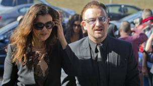 Lead singer with U2, Bono, and his wife Alison Hewson, attended the funeral. Other members of the band were also in attendance.