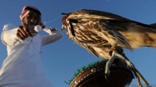 A hunter sprays water on his falcon