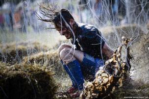 A man competes in the Tough Viking race in Stockholm