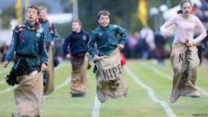 Sack race at the Braemar Games