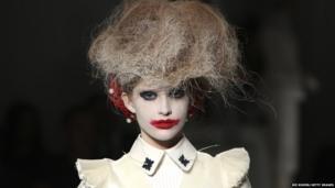 A model at New York Fashion Week
