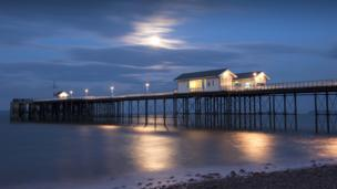 Penarth pier in moonlight