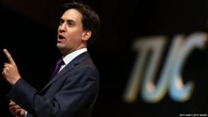 Labour leader Ed Miliband speaks at the annual TUC Congress