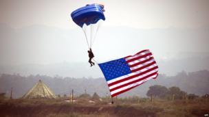 US paratrooper lands in Sentul, West Java (13 September 2013)