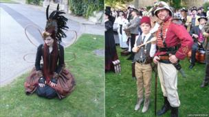 A woman dressed as a fairy and a man dressed as a Victorian hunter