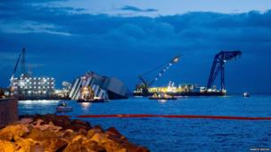Boats surround the Costa Concordia.