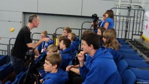 BBC Sport Correspondent Matt Slater advising the young reporters
