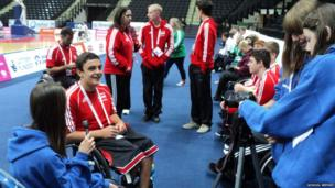 Emillia, Cathryn and Jade interview wheelchair basketball players