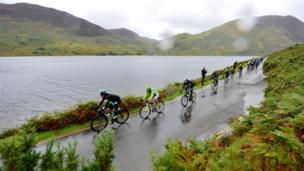 Cyclists by Crummock Water near Keswick