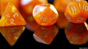 Numbers on different shapes of dice.