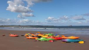 Canoes on a beach