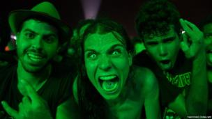 Fans attend the performance of US thrash metal band Slayer