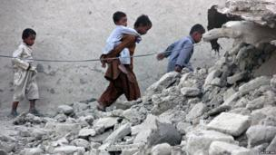 Survivors of an earthquake in the town of Awaran