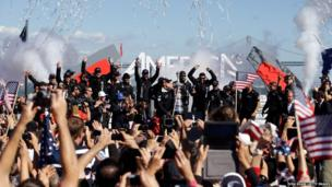 Oracle Team USA celebrate victory