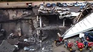 Image grab taken from Kenyan military video footage of damage to Westgate shopping mall, released on 25 September 2013