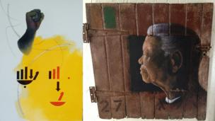 (Left) Mandela's Sign by Susan Woolf and Nelson Mandela - 'looking to the future' by Velaphi Mzimba