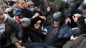 Activists of Ukrainian opposition parties clash with riot police in Kiev, Ukraine