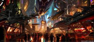 Ryan Church: Coruscant underworld entertainment corridor. Concept art for Star Wars 1313 - proposed video game (Digital)