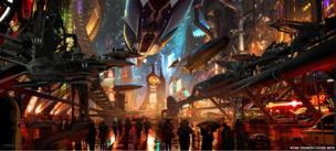 Ryan Church: Coruscant underworld entertainment corridor. Concept art for Star Wars 1313 - proposed video game (Digital)