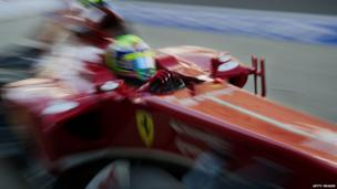 Ferrari driver Felipe Massa of Brazil drives his car into the pit lane during the first practice session of the Formula One Korean Grand Prix in Yeongam on October 4, 2013.