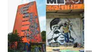 Outdoor of the tower block art project Tour 13 in Paris and an artist painting.
