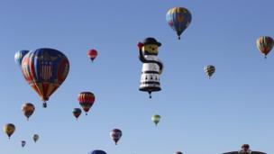 Balloons in the air at the 42nd Albuquerque International Balloon Fiesta.