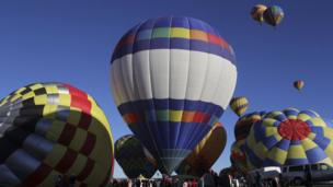 Balloons prepare for take off at 42nd Albuquerque International Balloon Fiesta.