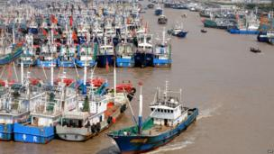 Fishing boats berth in Zhoushan port to avoid the powerful typhoon Fitow in Zhoushan, in east China's Zhejiang province on 5 October 2013