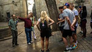 Danish tourists on a tour of Barcelona, Spain