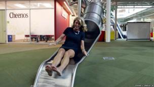 State Senator Wendy Davis on a slide