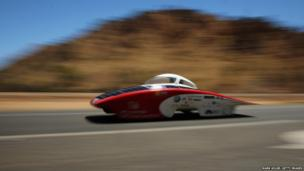 A solar powered vehicle, Luminos of the Stanford Solar Car Project