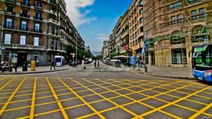Road junction in Barcelona