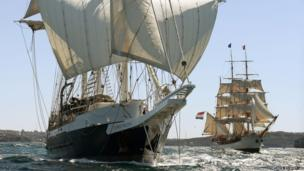 The British ship Lord Nelson leads the Dutch ship Europa
