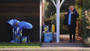 England's national football coach Roy Hodgson prepares for an England training session