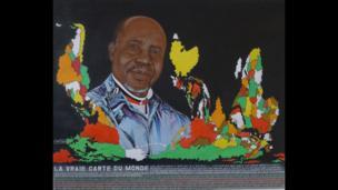 An artwork by Cheri Samba entitled La vraie carte du monde, 81cm x 100cm, 2013