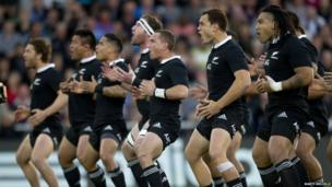 New Zealand rugby team performing the Haka