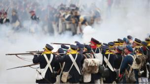Historical enthusiasts dressed as Prussian soldiers, re-enactment of Battle of the Nations, Leipzig (20 October)