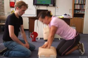 Christopher and Katalina perform CPR