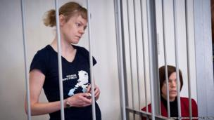Greenpeace International activist Sini Saarela of Finland attends her bail hearing at the Regional Court of Murmansk