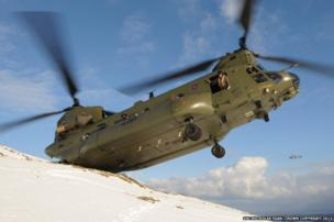Chinook crew on snowy hillside in Co Antrim, Northern Ireland