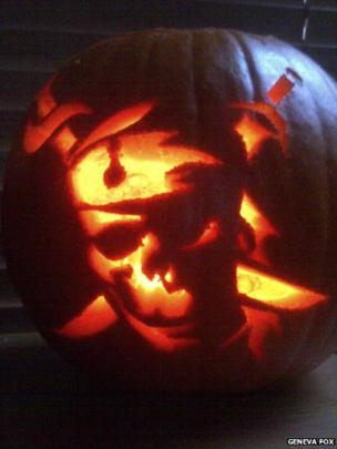 A pirate skull carved pumpkin