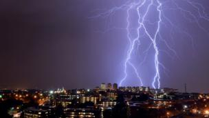 Forked lightning over Johannesburg, South Africa - Saturday 26 October 2013