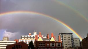 A double rainbow over Cardiff city centre