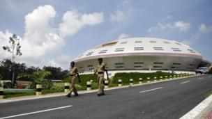 Paramilitary soldiers patrol the control station for the mission to Mars at the Satish Dhawan Space Center at Sriharikota, in the southern Indian state of Andhra Pradesh