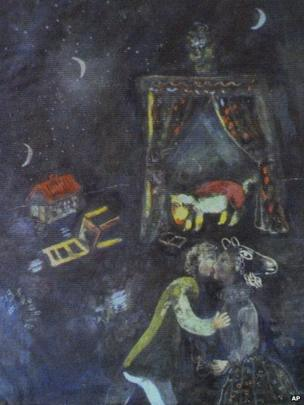 Painting by Marc Chagall, unveiled by the German authorities in Augsburg, 5 November
