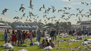 Seagulls hover overhead as racegoers make their way home through the rubbish left behind after attending Melbourne Cup Day at Flemington Racecourse, Australia
